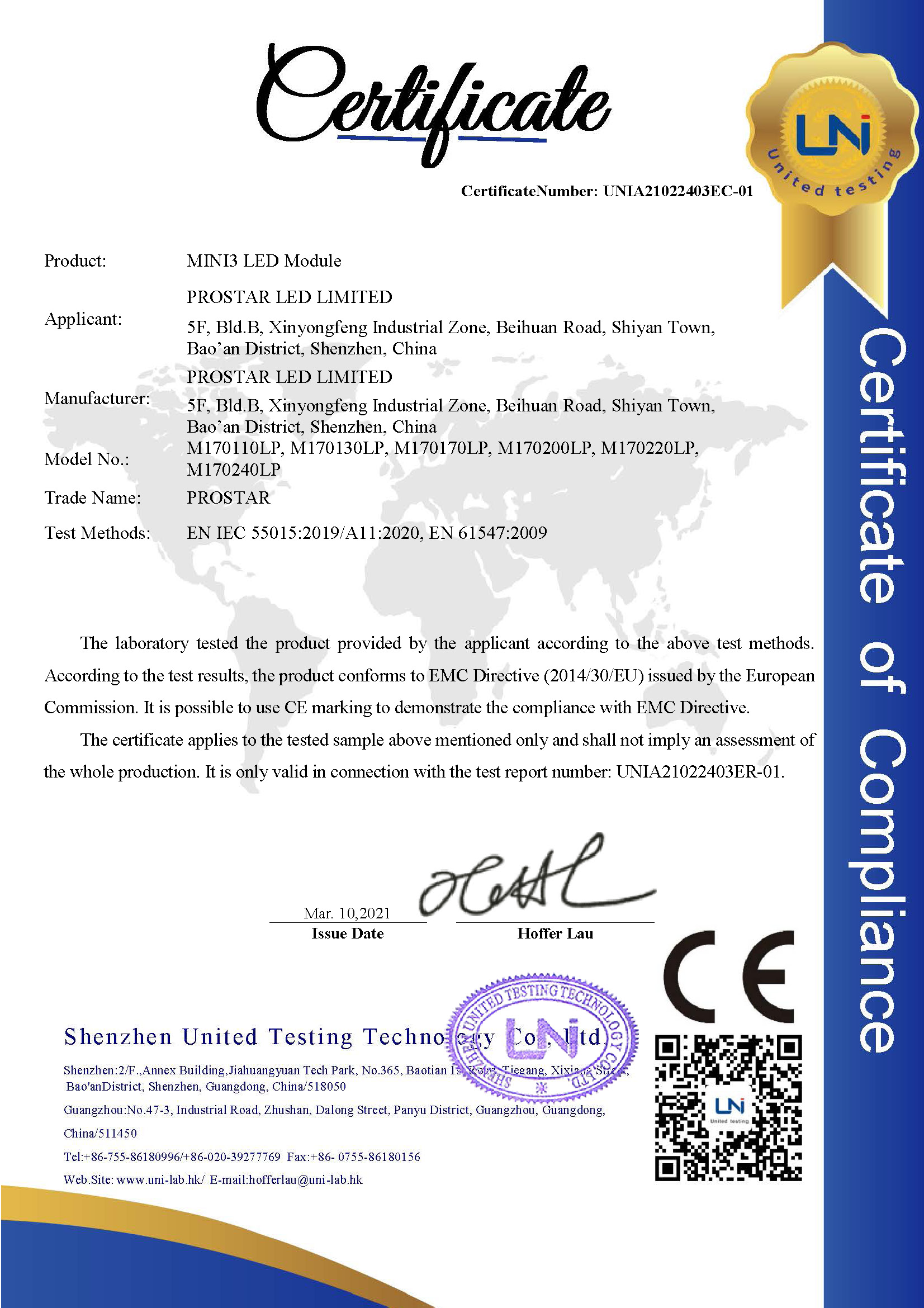 LED Module EMC Certificate and Test Report Completed