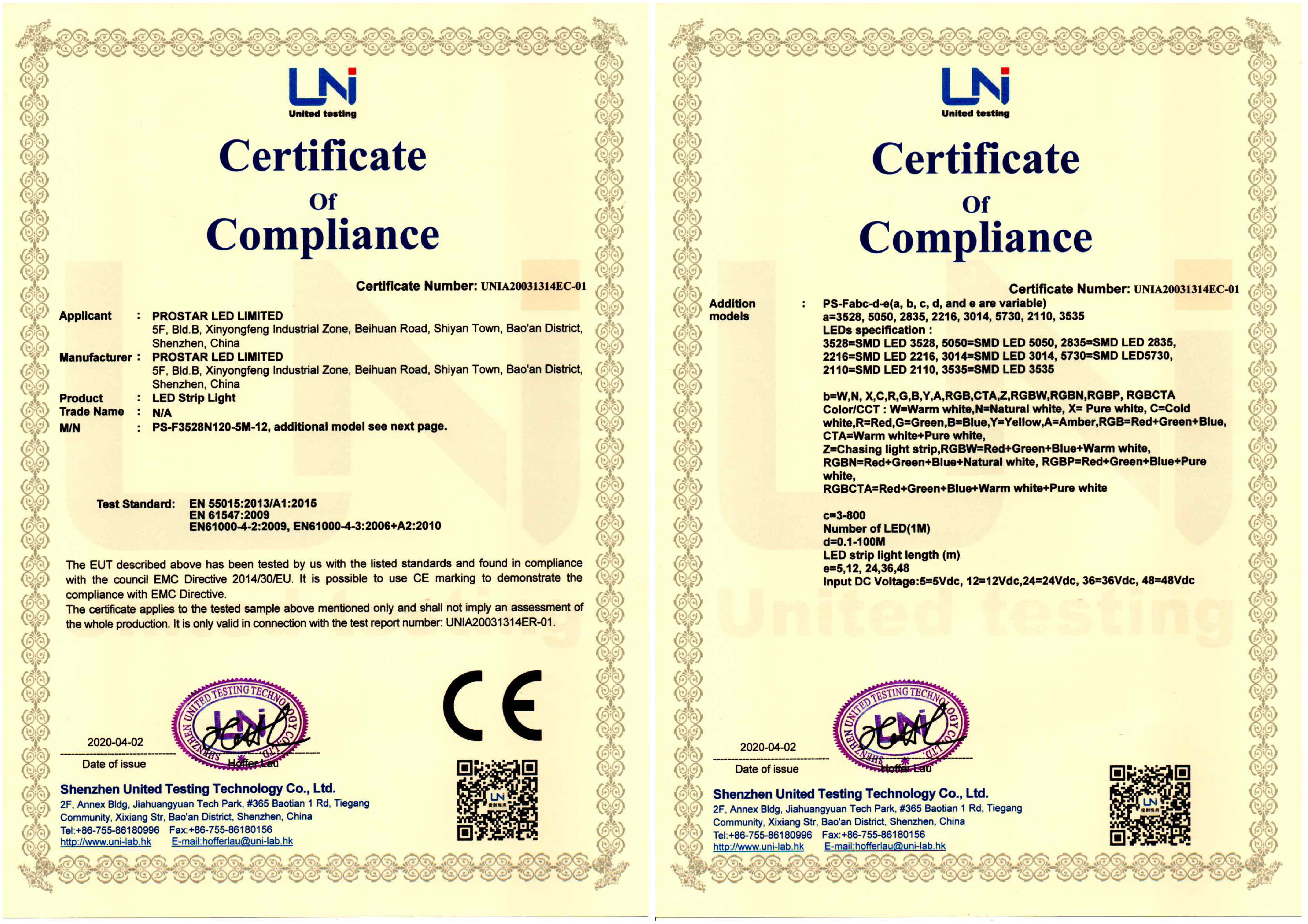 LED STRIP LIGHT EMC/LVD/RoHS2.0 Certificates Update Completed
